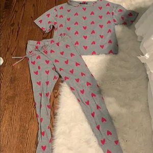 Nastygal heart pajama set size 6 (M)
